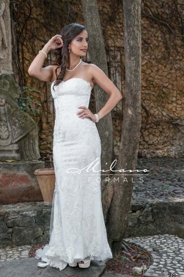 Milano Formals - Aa227 Embellished Strapless Sweetheart Wedding Gown