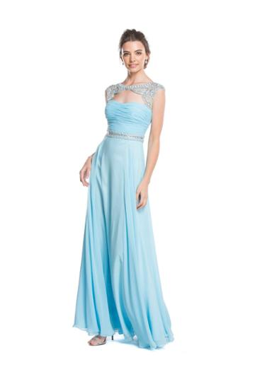 Aspeed - L1610 Beaded Ruched A-line Evening Dress