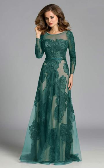 Lara Dresses - 32634 Detailed Sheer Floral Gown