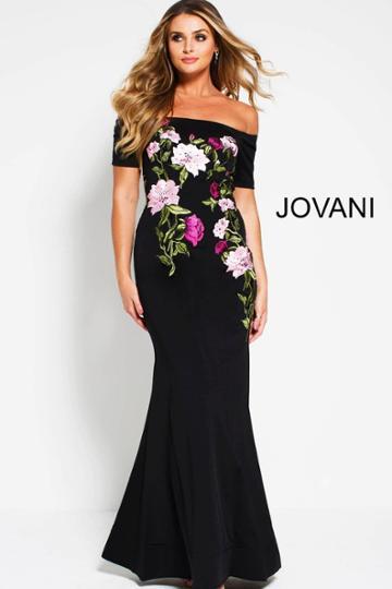 Jovani - 50843 Multi-colored Floral Beaded Off-shoulder Sheath Dress