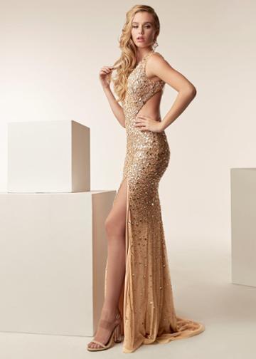 Jasz Couture - 6271 Sleeveless Beaded Sheath Dress