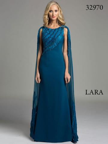 Lara Dresses - Majestic Sleeveless Gown With Sheer Cape 32970