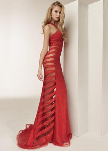 Jasz Couture - 6300 Sheer Side Paneled Fitted Evening Dress
