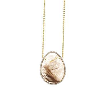 Tresor Collection - Golden Rutile & Diamonds Necklace In 18k Yellow Gold