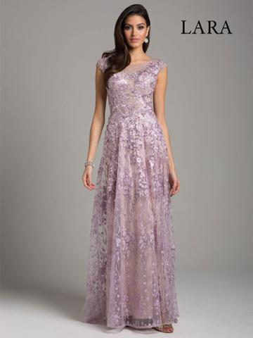 Lara Dresses - 29930 Cap Sleeve Floral Lace Sheer Long Gown