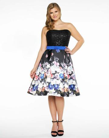 Mac Duggal Fabulouss - 77303f Floral Print Strapless Cocktail Dress