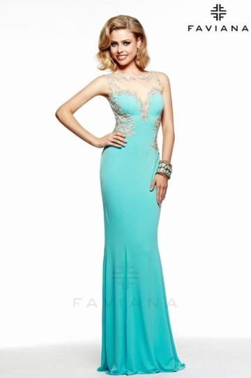 Faviana - Lovely Jersey Dress With Sheers And Lace Applique S7534