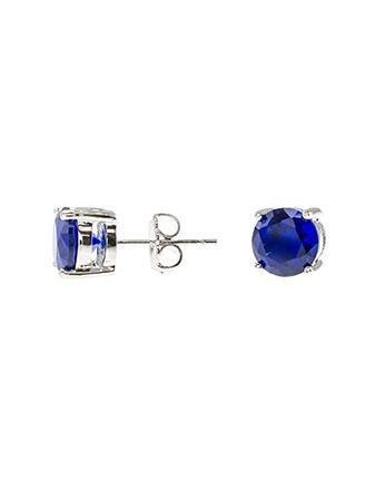 Cz By Kenneth Jay Lane - Blue Sapphire Luxe Round Stud