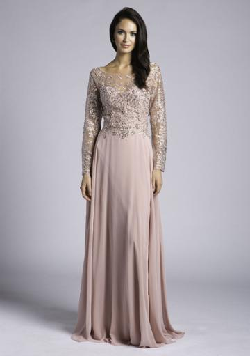 Lara Dresses - 33625 Sheer Long Sleeved Embellished Gown