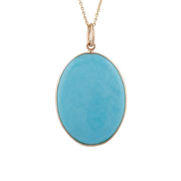 Tresor Collection - Turquoise Oval Pendant In 18k Yg