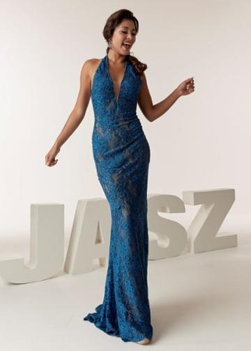 Jasz Couture - 6285 Beaded Halter V-neck Sheath Dress