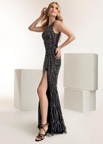 Jasz Couture - 1422 Beaded High Neck Sheath Dress