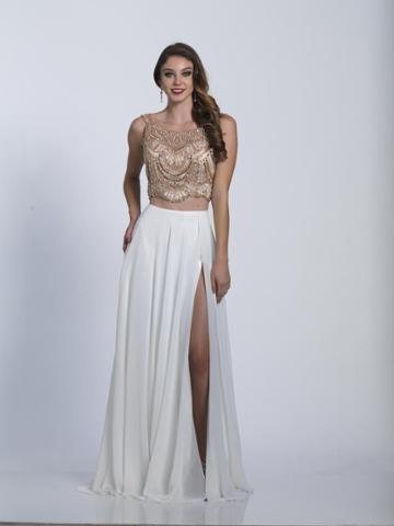 Dave & Johnny - A6199 Scoop Neck Two-piece Chiffon Gown