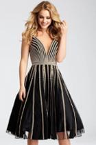 Jovani - 56000 Deep V-neck A-line Dress