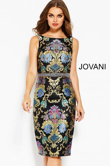 Jovani - 53035 Multi-colored Jacquard Bateau Sheath Dress