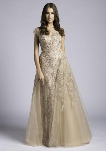 Lara Dresses - 33621 Sheer Cap Sleeve Beaded A-line Gown