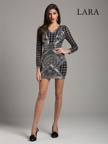 Lara Dresses - 29908 Sheer Long Sleeve Beaded Sheath Dress