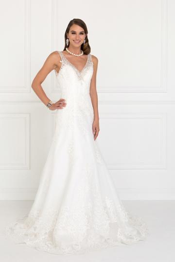 Elizabeth K - Gl2376 Jeweled V-neck Mesh A-line Wedding Gown