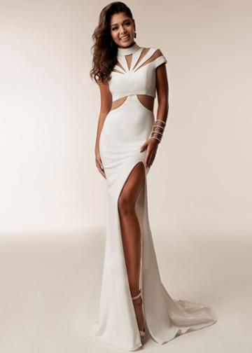 Jasz Couture - 6205 High Neck Sheath Dress With Slit