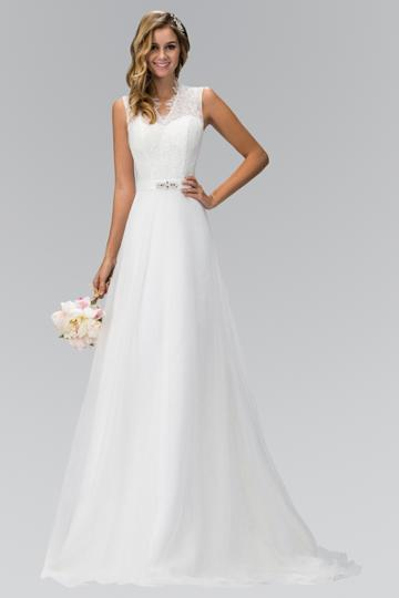 Elizabeth K - Gl1416 Sleeveless Fringed Lace Bodice A-line Wedding Gown