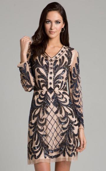Lara Dresses - 33402 Sheer V-neck Mini Dress