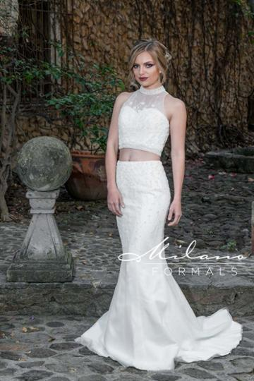 Milano Formals - Aa9338 Embellished Two Piece Mermaid Wedding Gown