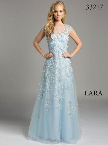 Lara Dresses - Sheer Appliqued Illusion A-line Evening With Rhinestone And Pearl Embellisments Dress 33217