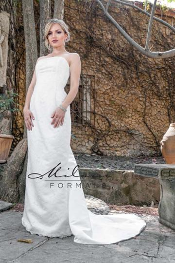 Milano Formals - Aa9336 Strapless Straight Across Sheath Wedding Gown