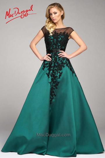 Mac Duggal Evening Gowns - 48511 Cap Gown In Emerald Black