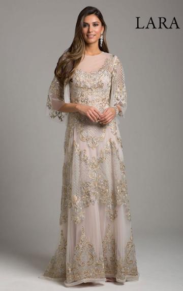 Lara Dresses - 29965 Bead Embellished Sheer A-line Evening Gown