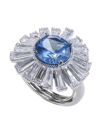 Cz By Kenneth Jay Lane - Round Aqaumarine And Baguette Ring