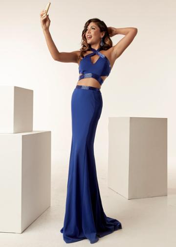 Jasz Couture - 6270 Two Piece Beaded Halter Sheath Dress