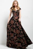 Jovani - 49981 Embroidered Multi-color Floral Gown