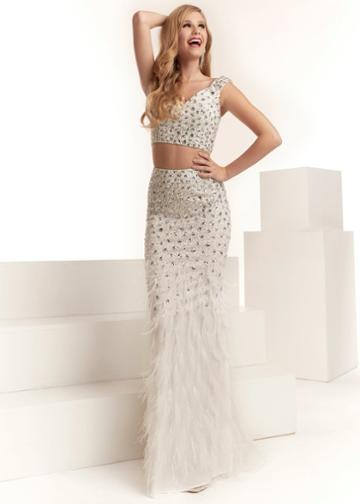 Jasz Couture - 6312 Two Piece Beaded Feathered Dress
