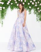 Mac Duggal - 79176d V-neck Beaded Brocade A-line Gown