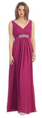 Elegant V-neck Ruched Top Empire Dress