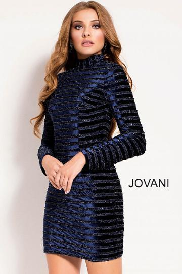 Jovani - 52184 Beaded Velvet High Neck Sheath Dress