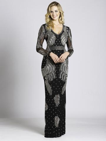Lara Dresses - 33563 Sheer Long Sleeve Evening Gown