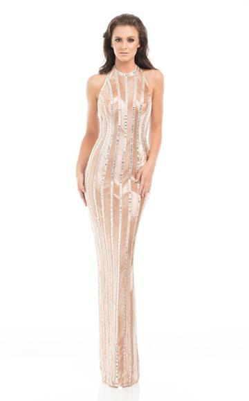 Johnathan Kayne - 7061 Shimmering Sequin Patterned Evening Gown