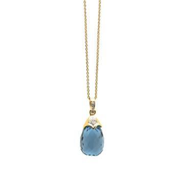 Tresor Collection - London Blue Topaz & Diamond Interchangeable Baroque Pendant In 18k Yellow Gold