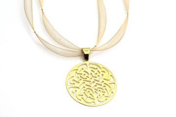 Tresor Collection - Logo Pendant In 18k Yellow Gold In Shiny Finsih