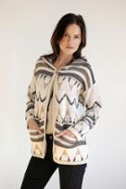 Goddis - Navita Jacquard Hooded Knit Jacket In Canvas Ink