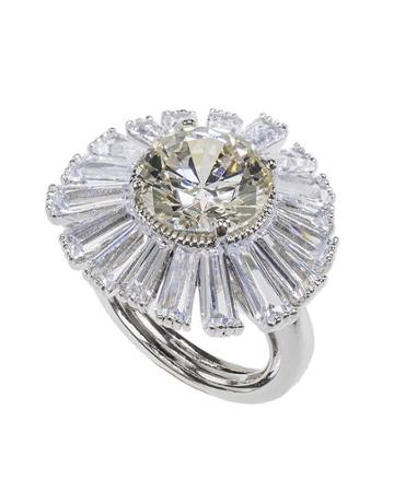 Cz By Kenneth Jay Lane - Canary And Baguette Cz Ring