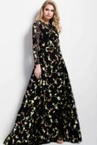 Jovani - 55267 Long Sleeved Floral Evening Gown