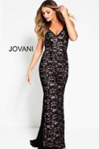 Jovani - 52084 Sleeveless Lace V-neck Sheath Dress