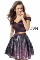 Jovani - Jvn62314 Two Piece Sequined Off-shoulder Aline Cocktail Dress