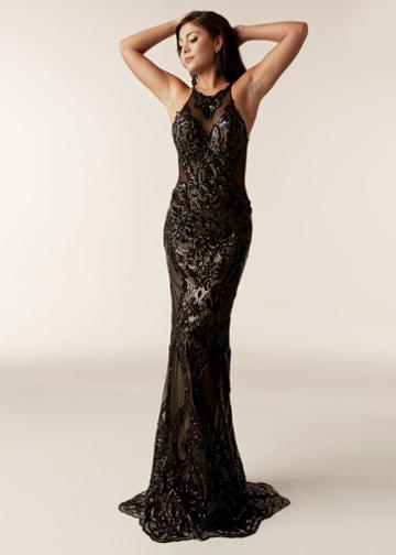 Jasz Couture - 6302 Embellished Illusion Halter Sheath Dress