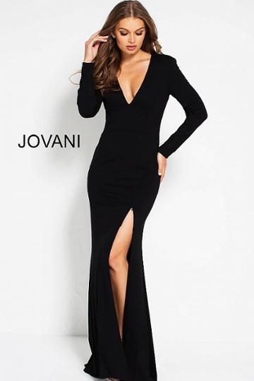 Jovani - 51109 Sleek Plunging V-neck Fitted Dress