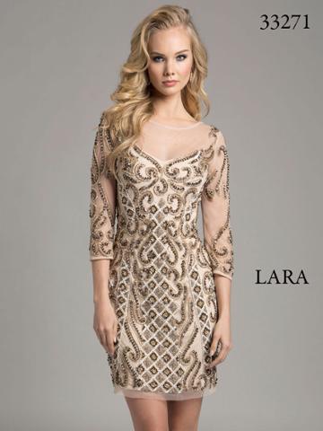 Lara Dresses - Astonishing Cocktail Dress With Gilded Sheers 33271