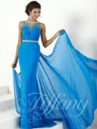 Tiffany Designs - Embellished Long Dress With Drape